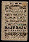 1952 Bowman #146  Leo Durocher  Back Thumbnail