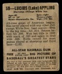1949 Leaf #59  Luke Appling  Back Thumbnail