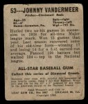 1948 Leaf #53  Johnny Vander Meer  Back Thumbnail