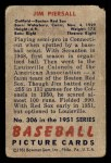 1951 Bowman #306  Jimmy Piersall  Back Thumbnail