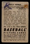 1952 Bowman #212  Solly Hemus  Back Thumbnail