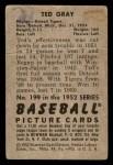 1952 Bowman #199  Ted Gray  Back Thumbnail