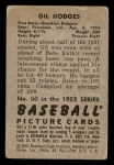 1952 Bowman #80  Gil Hodges  Back Thumbnail