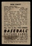 1952 Bowman #131  Bob Swift  Back Thumbnail