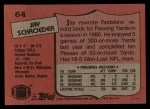 1987 Topps #64  Jay Schroeder  Back Thumbnail
