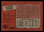 1987 Topps #94  Gerald McNeil  Back Thumbnail