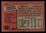 1987 Topps #12  Maurice Carthon  Back Thumbnail