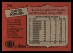 1987 Topps #78  Curtis Jordan  Back Thumbnail