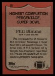 1987 Topps #8   -  Phil Simms Record Breaker Back Thumbnail