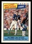 1987 Topps #8   -  Phil Simms Record Breaker Front Thumbnail