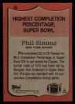 1987 Topps #8   -  Phil Simms Record Breaker Back Thumbnail