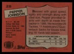 1987 Topps #28  Pepper Johnson  Back Thumbnail