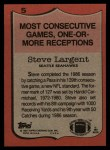 1987 Topps #5   -  Steve Largent Record Breaker Back Thumbnail