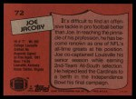 1987 Topps #72  Joe Jacoby  Back Thumbnail