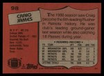 1987 Topps #98  Craig James  Back Thumbnail