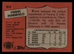 1987 Topps #92  Frank Minnifield  Back Thumbnail