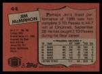1987 Topps #44  Jim McMahon  Back Thumbnail