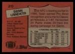 1987 Topps #20  Sean Landeta  Back Thumbnail