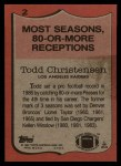 1987 Topps #2   -  Todd Christensen Record Breaker Back Thumbnail