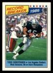 1987 Topps #2   -  Todd Christensen Record Breaker Front Thumbnail