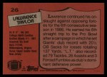 1987 Topps #26  Lawrence Taylor  Back Thumbnail