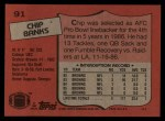 1987 Topps #91  Chip Banks  Back Thumbnail