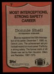1987 Topps #7   -  Donnie Shell Record Breaker Back Thumbnail