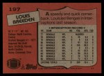 1987 Topps #197  Louis Breeden  Back Thumbnail
