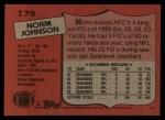 1987 Topps #179  Norm Johnson  Back Thumbnail