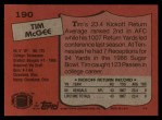 1987 Topps #190  Tim McGee  Back Thumbnail