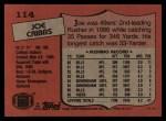 1987 Topps #114  Joe Cribbs  Back Thumbnail