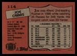 1987 Topps #114  Joe Cribbs  Back Thumbnail