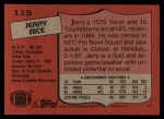 1987 Topps #115  Jerry Rice  Back Thumbnail