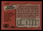 1987 Topps #143  Bobby Humphery  Back Thumbnail