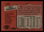 1987 Topps #105  Rich Camarillo  Back Thumbnail
