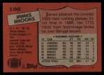 1987 Topps #186  James Brooks  Back Thumbnail