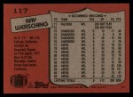 1987 Topps #117  Ray Wersching  Back Thumbnail