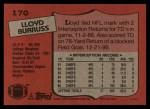 1987 Topps #170  Lloyd Burruss  Back Thumbnail