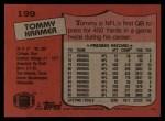 1987 Topps #199  Tommy Kramer  Back Thumbnail
