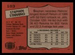 1987 Topps #103  Stephen Starring  Back Thumbnail