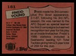 1987 Topps #181  Fredd Young  Back Thumbnail