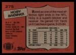 1987 Topps #275  Hoby Brenner  Back Thumbnail