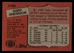 1987 Topps #289  Gary Anderson  Back Thumbnail