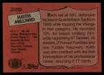 1987 Topps #209  Keith Millard  Back Thumbnail