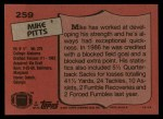 1987 Topps #259  Mike Pitts  Back Thumbnail