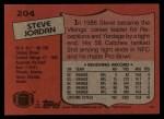 1987 Topps #204  Steve Jordan  Back Thumbnail