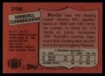 1987 Topps #296  Randall Cunningham  Back Thumbnail