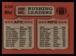 1987 Topps #229   -  Eric Dickerson / Curt Warner Rushing Leaders Back Thumbnail