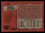 1987 Topps #278  Brian Hansen  Back Thumbnail