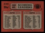 1987 Topps #230   -  Tony Franklin / Kevin Butler Scoring Leaders Back Thumbnail